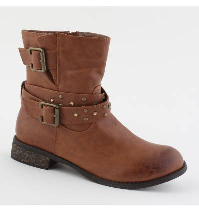 BOTTINES FEMMES MULTI-BRIDES CLOUTEESET ZIP CAMEL MIREILLE