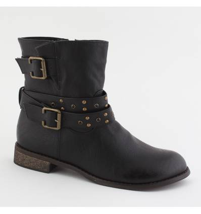 BOTTINES FEMMES MULTI-BRIDES CLOUTEES ET ZIP NOIR MIREILLE