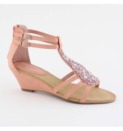 Sandales femme à strass rose INA