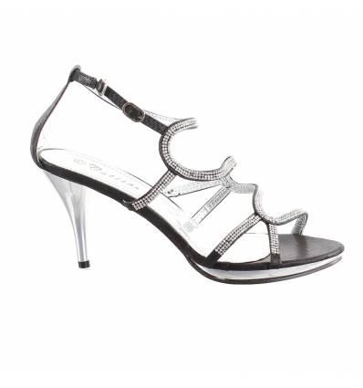Sandales talon et strass fantaisie noir Yasmine