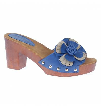 Sabots bleu à fleur