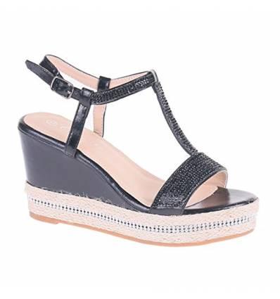 Sandales argentées compensées à corde et strass Joelle