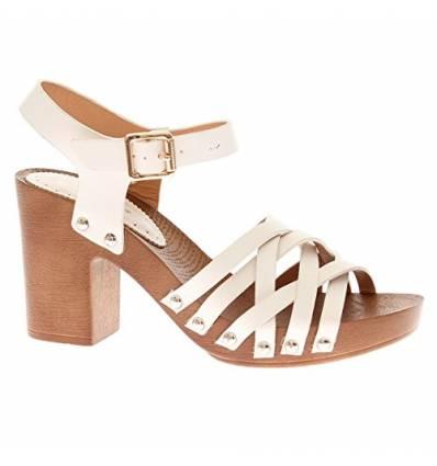 Sandales blanches à talon liège Laurie