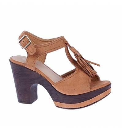 Sandales camel à talon avec franges IRINA