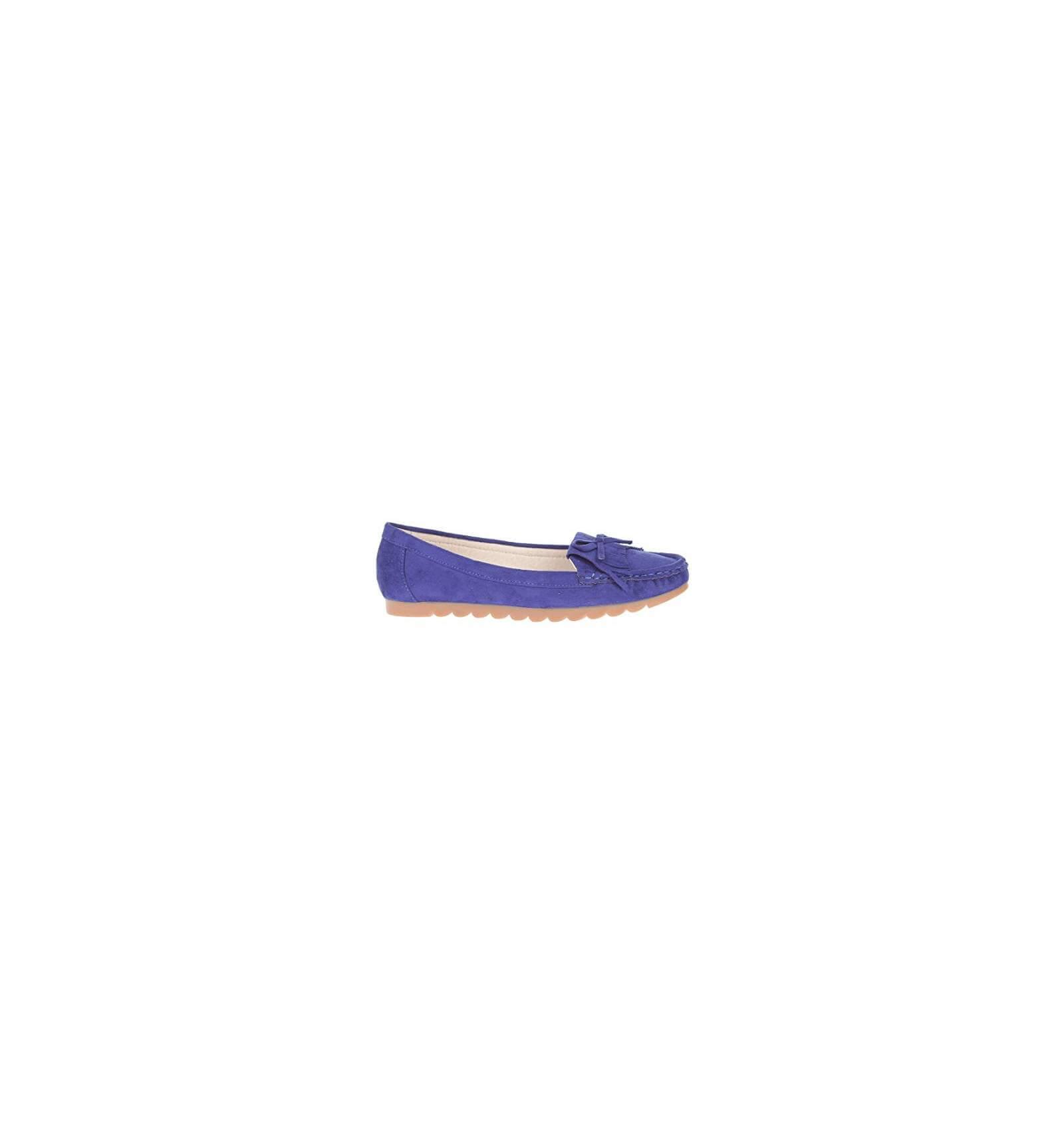 mocassin bleu lectrique pour femme confortable effet daim et franges. Black Bedroom Furniture Sets. Home Design Ideas