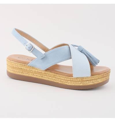 Sandales compensées bleu clair Adriana