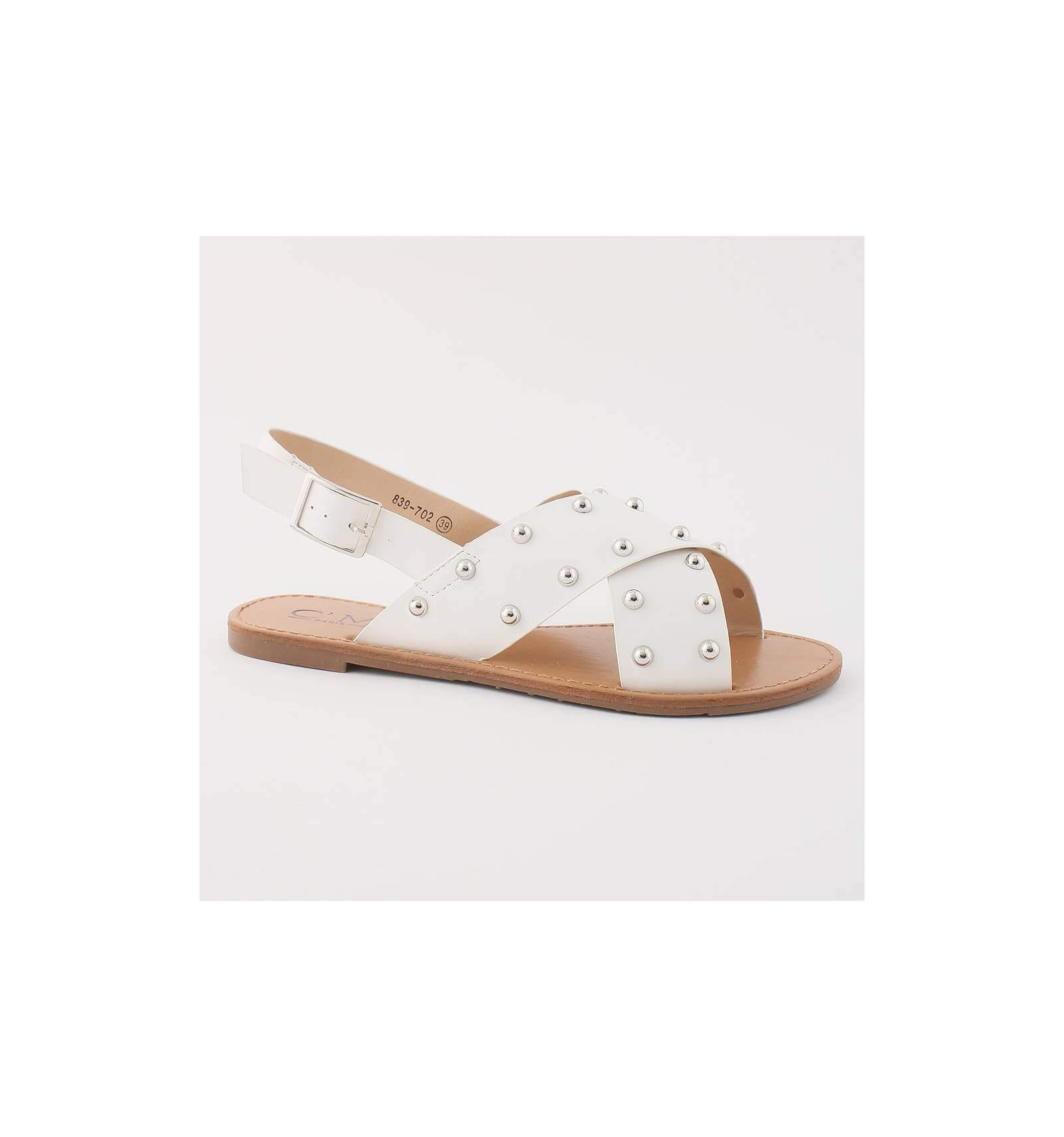 sandales spartiates blanches confortables plates pour femme tendance. Black Bedroom Furniture Sets. Home Design Ideas