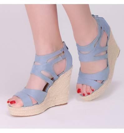 Sandales compensées corde bleu clair STACY