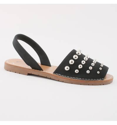 Sandales noires à clous