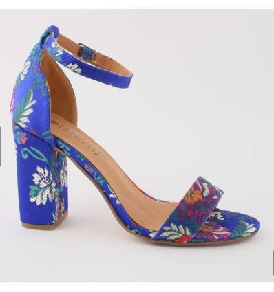 Sandales à fleur talon haute haut bleu Steffy