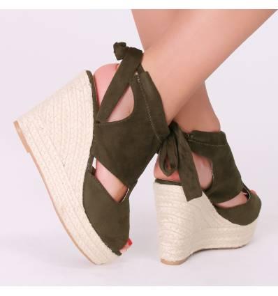 Sandales talon compensé effet corde à nœud noir Paulina