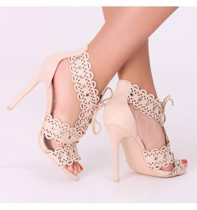 Sandales trouées à talon beige CHERYL