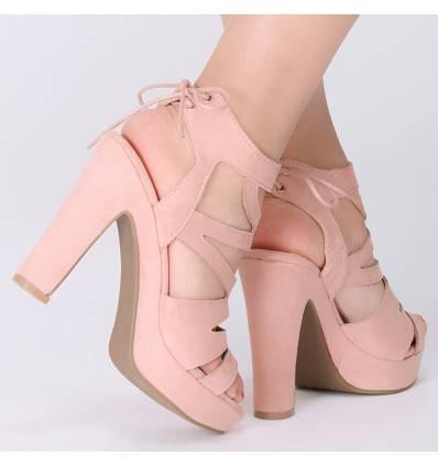 Sandales roses femme à talon Mylena