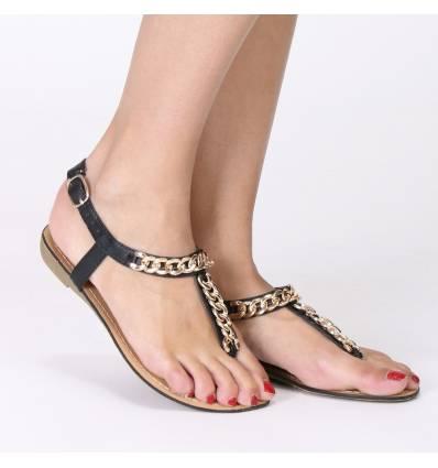Sandales femme noires à chaine dorée SHARON