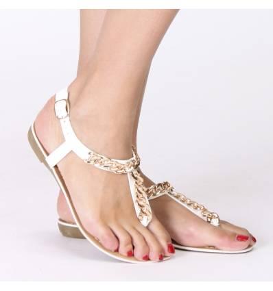 Sandales femme blanche à chaine dorée SHARON