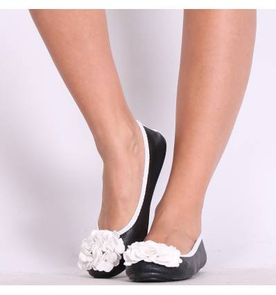 Ballerines femme noir et blanc à fleur MONCEAU