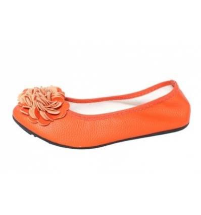 Ballerines orange femme à fleur MONCEAU